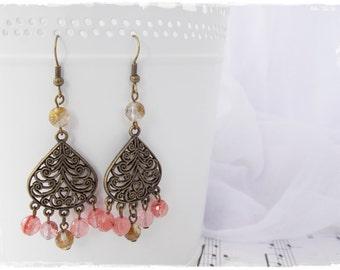 Dangle Gypsy Earrings, Boho Chandelier Earrings, Tribal Brass Earrings, Watermelon Tourmaline Earring, Dangling Earrings, Large Boho Dangles
