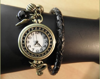 watch bracelet leather bronze and gemstones