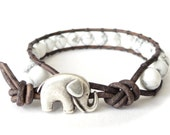 Cute Valentine's gift for girlfriend, hipster elephant bracelet with chunky white howlite beads on grey leather, gift idea for girls
