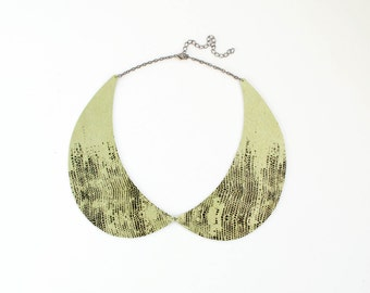 Peter Pan collar necklace, green leather necklace, preppy necklace, green and black necklace, col claudine, summer trends, gift for her