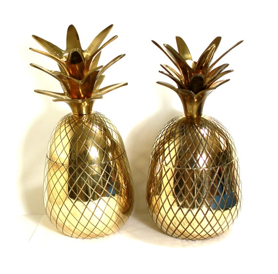 Brass Pineapple candle holder. box. large size. vintage mid-century modern. Christmas gift
