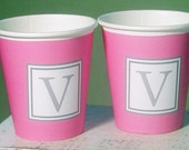 Monogram Hot/Cold Solid Color Paper Party Cups - Choose from 72 colors - Set of 12