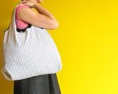 MUCKLE bag - black and white ticking stripe reusable shopping bag / beach bag