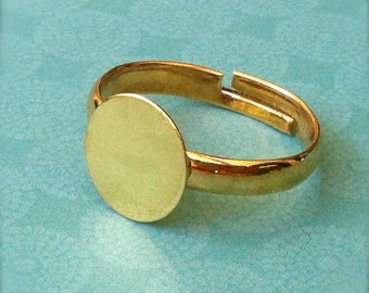 10 - Adjustable Ring Base Blank - Jewelry Supply - Gold Plated - 10mm Pad