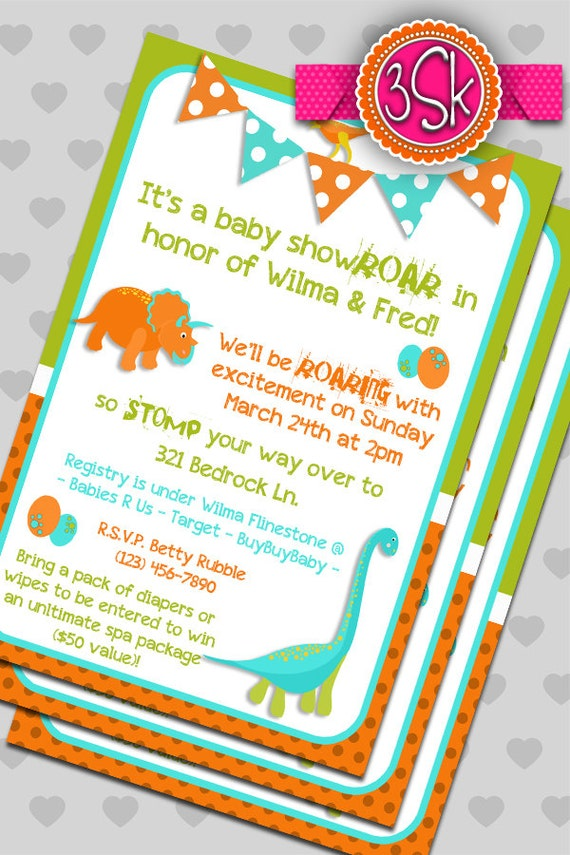 items similar to dinosaur baby shower invitations on etsy