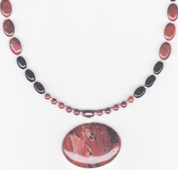 Handmade Jewelry, Jasper Beaded Necklace, Pendant Necklace, Burgurdy Necklace, Brecciated Jasper Beaded Necklace with Oval Pendant, Beadwork