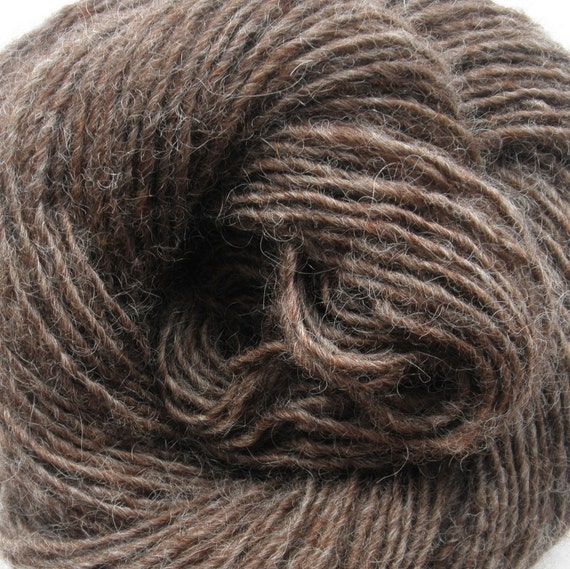 "Handspun Yarn ""Frosted Brown"" Single Ply 100% Wool"