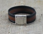 Rivet Clasp Double Color Leather - Men's Bracelet Thick Magnetic Clasp
