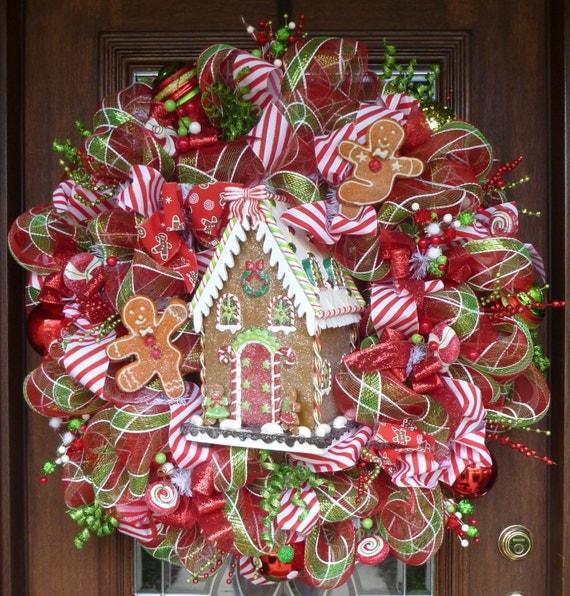 Wreath Ideas: 32 Deco Mesh WHIMSICAL GINGERBREAD HOUSE Christmas
