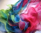 Silk scarf / necklace  - sweet pea flowers
