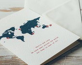 Map Card | Personalised Destination Card | Wedding Card | Travel Card | Honeymoon Destination | Anniversary Card | Birthday Card