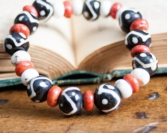 SALE Boho Chic Tribal Stretch Bracelet Stacking Black and White Bone Beads White Turquoise Howlite Red Coral Beads Fall