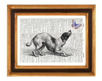 Dog print, dog chasing butterfly, Animal print, Dictionary page, fantasiy collage for kids, dog playing with butterfly, Dictionary Print Art