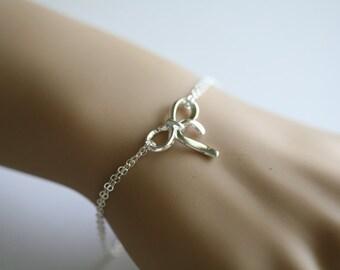 Sterling silver bow bracelet, silver knot bracelet, tie the knot, bridal party jewelry gifts,sisterhood,graduation gift