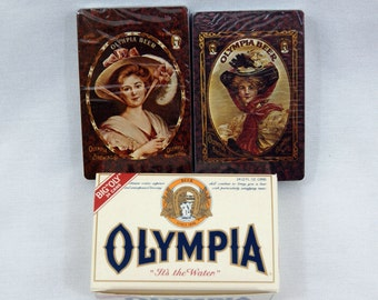 Vintage 1970's White Olympia Beer Case Playing Card Set