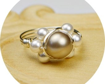 Pearl Ring-  Sterling Silver Filled Wire Wrap Ring with Platinum and Tiny White Crystal Pearls -Size 4, 5, 6, 7, 8, 9, 10, 11, 12, 13, 14