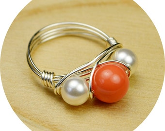 Pearl Ring-  Sterling Silver Filled Wire Wrap Ring with Coral Colored and White Crystal Pearls -Size 4, 5, 6, 7, 8, 9, 10, 11, 12, 13, 14