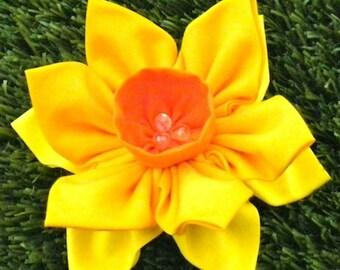 Kanzashi Flowers Pin Brooch Daffodil Pattern PDF Pattern Tutorial Fabric Flower Headbands Hair Clip Bouquet Embellishments Wedding La Todera
