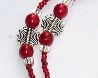 "Handmade 35"" RED and SILVER  EYEGLASS Chain  Glass Beads Silver Accent Beads Durable Handy"