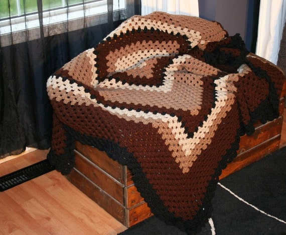 Price Reduced! Crochet Granny Square in Brown and Black Afghan Throw Blanket Coverlet