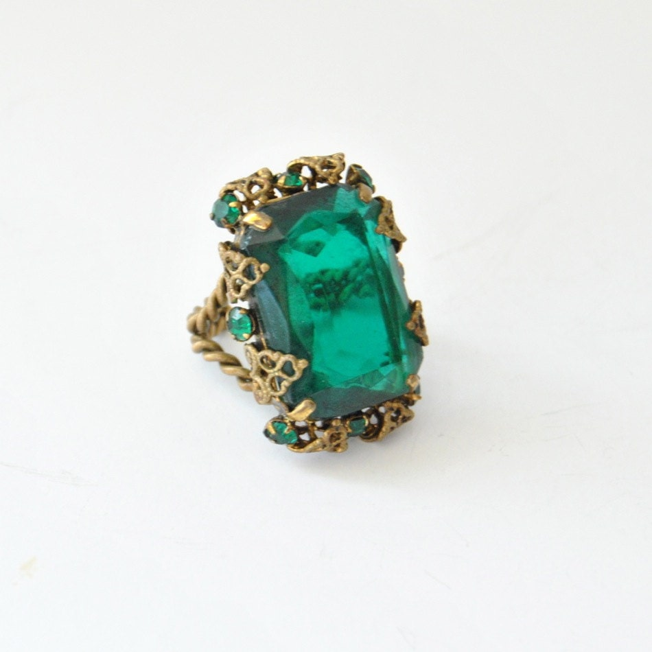 emerald cocktail ring 60s large chunky emerald by