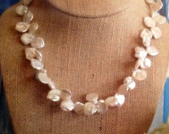 Keishi Pearl , Petal Pearl ,White ,necklace.