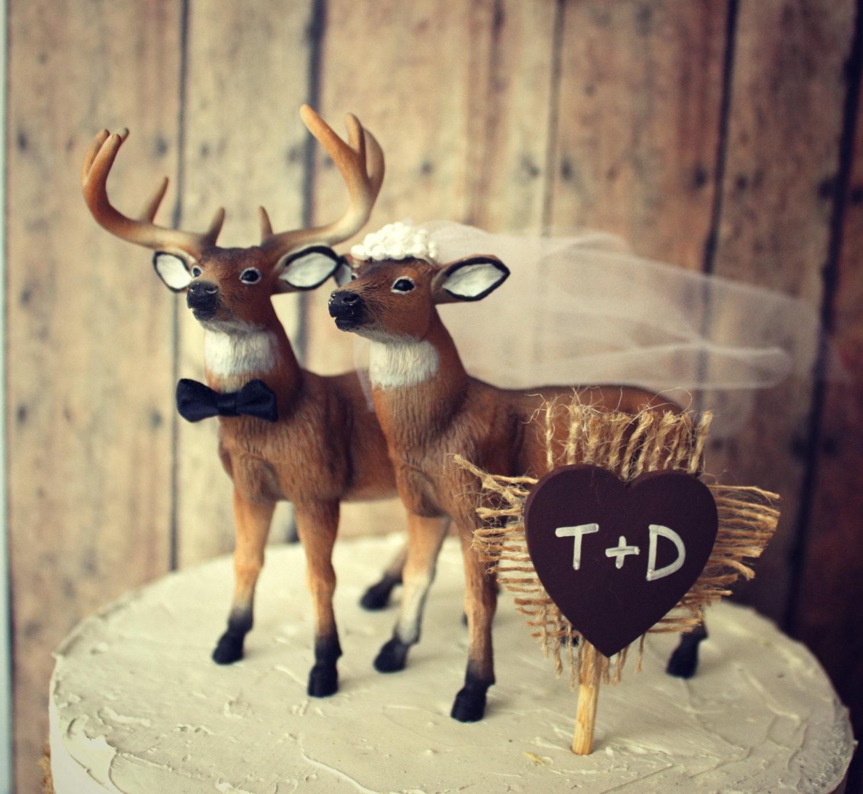 Hunting groom wedding cake topper deer buck by