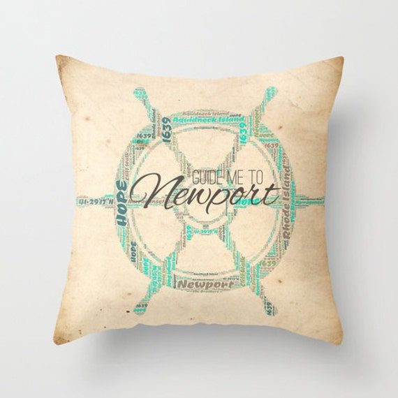 Throw Pillows By Newport : Newport Rhode Island Shipwheel Throw Pillow Nautical Mariner