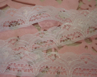 White Iridescent Scallop Lace 1.25 inches wide 1 Yard