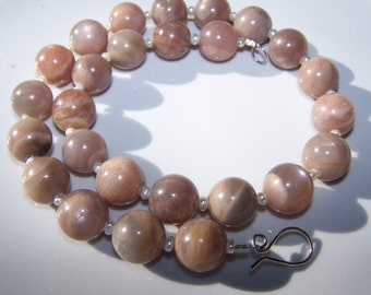 Chunky Sunstone Necklace with Pearls and Sterling Silver