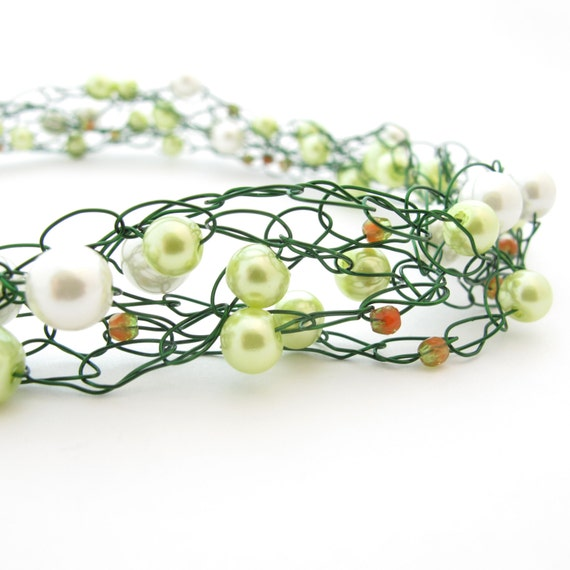 Wire Crochet Necklace, Green & White Beaded