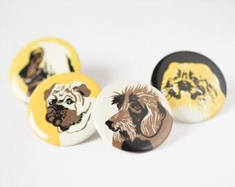 Vintage dog's pins, Soviet pinback button, badges 4 dogs breeds, pekinese pin, bulldog yellow pin, collie pin, terrier