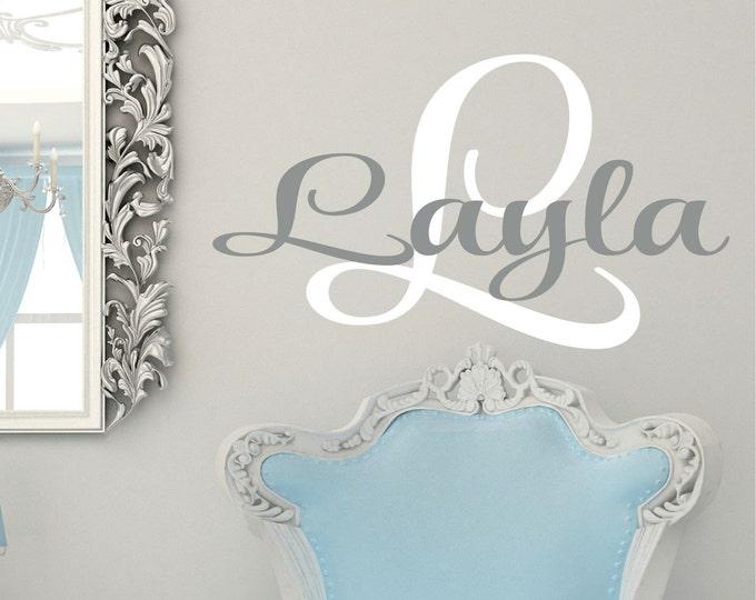 Girls Monogram Name Decal // Girls Bedroom // Personalized Name Decal // Childrens NurseryWall Decor // Vinyl Lettering