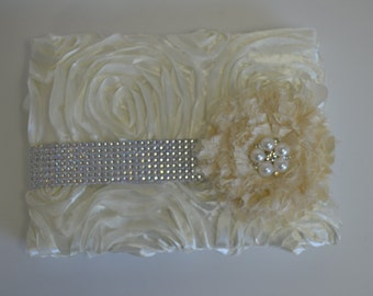 Ivory wedding guest book-Bling and pearl guest book