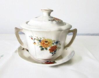 Vintage Sugar Bowl Serving Farmhouse Decor Floral Covered Sugar Bowl Under Plate Cottage Chic