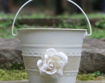 Flower Girl Basket Pail Burlap and Lace, Rustic Shabby Chic Wedding