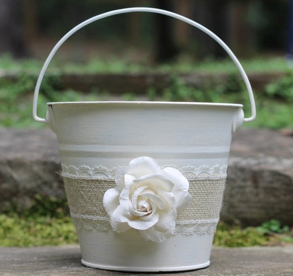 How To Make A Lace Flower Girl Basket : Flower girl basket pail burlap and lace rustic shabby chic