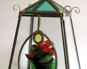 Classic STAINED GLASS container sculpture  -  glass TERRARIUM