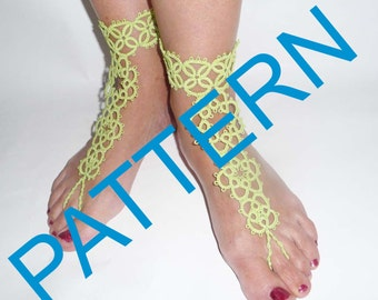 Tatting barefoot sandals pattern . PDF pattern. Tatting pattern.