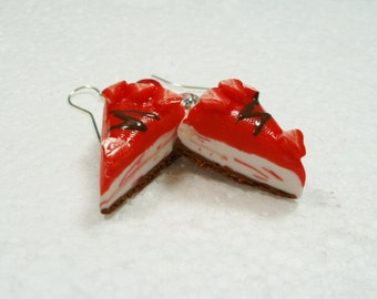 Strawberry Cheesecake earrings. Polymer clay.