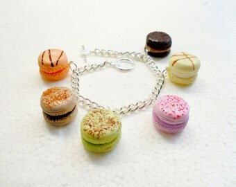 French Macaroon Bracelet.  Polymer clay.