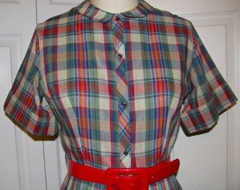 Vintage 1960's Plaid Shirtwaist Dress with Pleated Skirt