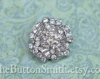 5 to 20 Pieces of Crystal Rhinestone flower Buttons (21mm) RS-005 Silver finish - Perfect for embellishments Wedding invitations crafts