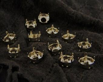 12 Rhodium plated 50ss/12mm Rivoli Round Settings