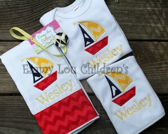 Baby Gift Set - Burp Cloth, Bib, Bodysuit, and Pacifier Clip - Sailboat Baby Gift Set.