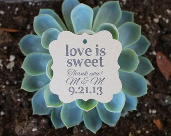 Wedding Favor Tags Love is Sweet 2 inch Square Kraft Brown Paper Tags - Set of 125 Rustic Boho Modern