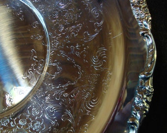 Vintage International Silver Co. silver plate serving tray platter engraved decorative edging