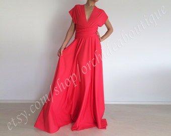 Coral Convertible dress Infinity Wrap Chameleon Maxi Dress bridesmaids dress plus size maternity