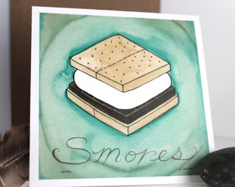 Smores - Camping Out Collection - Original Watercolor Illustrations - Blank Note Card