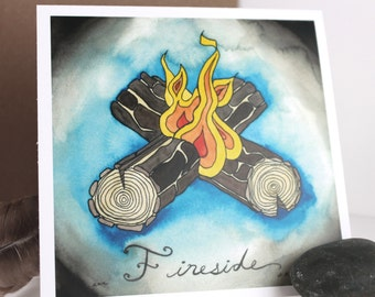 Fireside - Camping Out Collection - Original Watercolor Illustrations - Blank Note Card